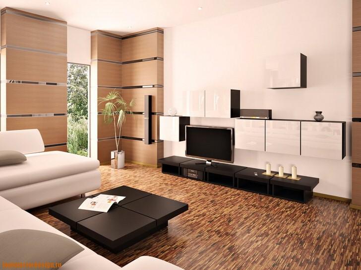 Стильная гостиная модерн в белом и светло-бежевом цвете украшена мебелью из темного дерева.