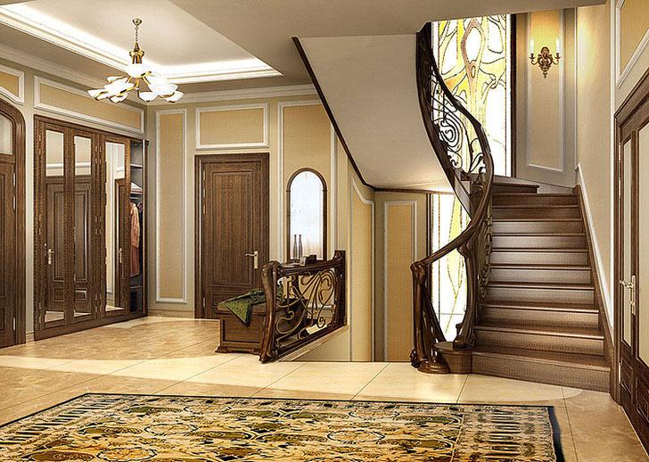 Изящное сочетание плавных линий и тепло натурального дерева главная черта стиля модерн. Лестница и интерьер дома смотрятся как одно целое.