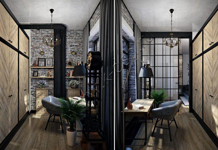 Стильное решение для офиса. Стиль лофт интересен отделкой интерьера. Современная мебель выгодно смотрится на фоне черновой отделки из серого кирпича.