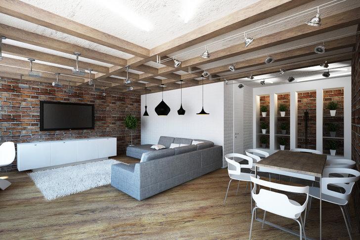 Просторная гостиная в лофт стиле примечательна правильно организованным пространством, которое условно поделено на обеденную зону и зону отдыха.