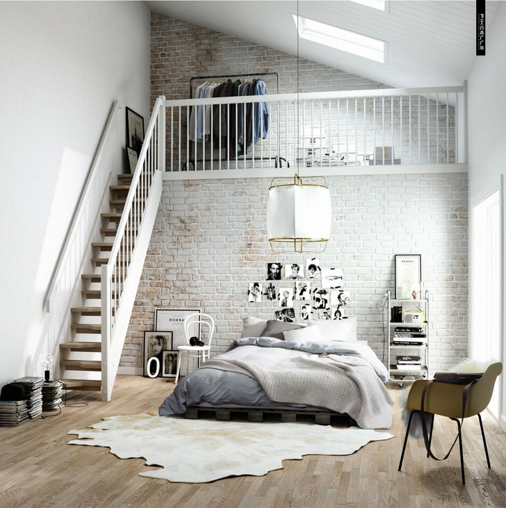 Спальня в скандинавском стиле функционально разделена на две зоны. Деревянная лестница ведет на второй этаж, где на кроватью располагается небольшая гардеробная.