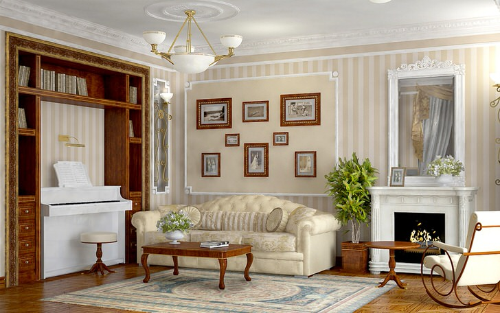 Просторная, светлая комната в стиле ампир с правильно подобранной мебелью.