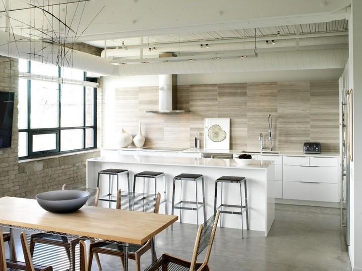 Правильный вариант зонирования кухонного пространства в стиле лофт. Простота, скромность, функциональность и практичность - стиль для настоящей хозяйки.