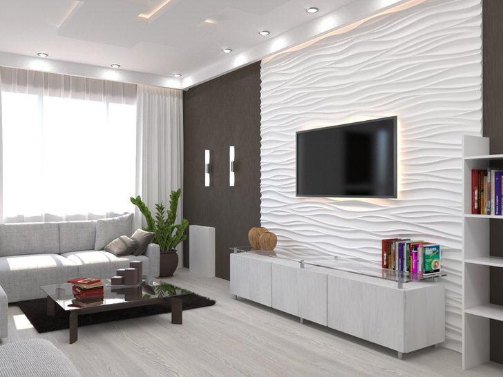 Комнату для гостей в стиле модерн визуально больше делает контрастное сочетание темных и светлых тонов.