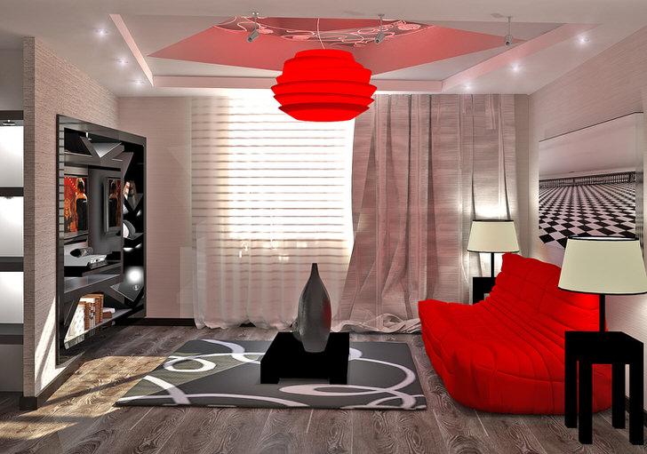 Люстра в стиле хай-тек ярко-алого цвета перекликается с правильно подобранной мебелью.