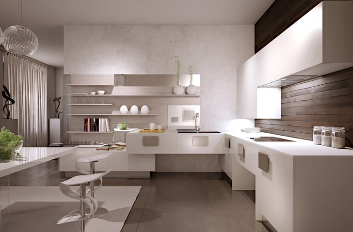 Минималистический интерьер кухни в белом цвете гармонично сочетается с деревянной отделкой стены над рабочей поверхностью.