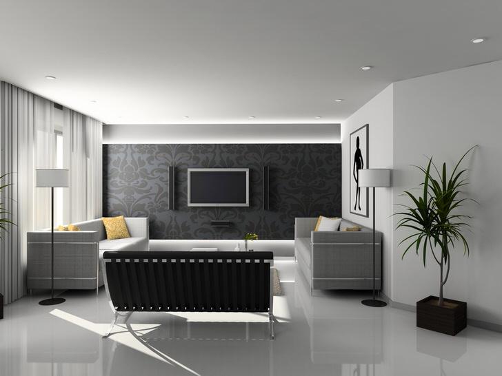 В оформлении комнаты для гостей в стиле хай-тек использованы преимущественно строгие геометрические формы и оттенки серого.