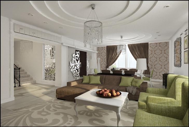 Шикарная гостиная в стиле ампир. Многоярусные потолки украшает удачно подобранное освещение.