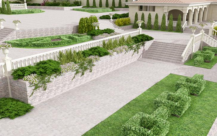 В саду в модерн стиле приветствуется использование кустарников различных геометрических форм.