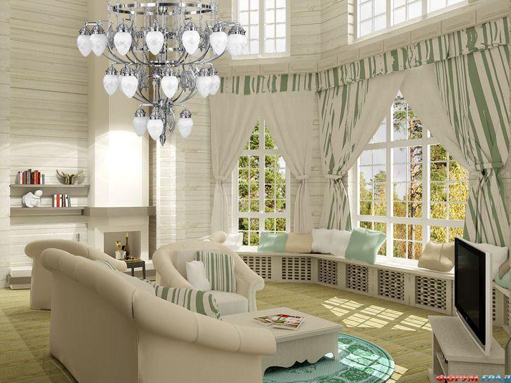 Светлая гостиная в стиле неоклассика. Уютное и одновременно функциональное пространство. Особый интерес вызывают широкие подоконники, украшенные подушками.