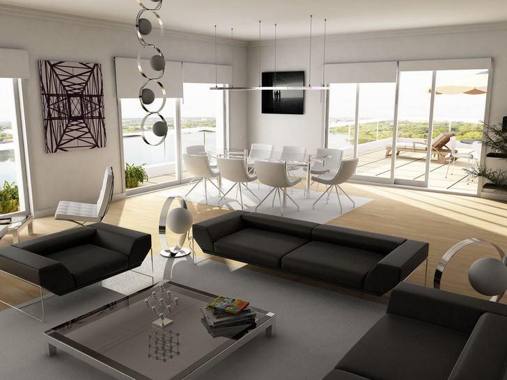 Со вкусом оформленный интерьер просторной гостиной в стиле хай тек привлекает лаконичностью линий и лёгкостью восприятия.
