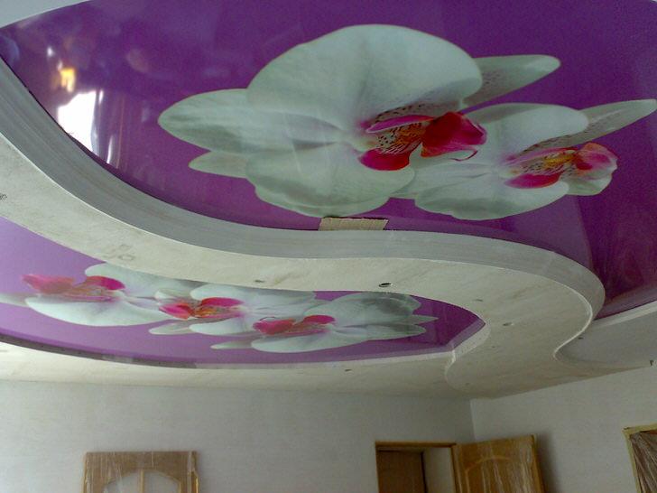 Композиция с цветами на натяжных потолках с фотопечатью - интересное решение для оформления гостиной.