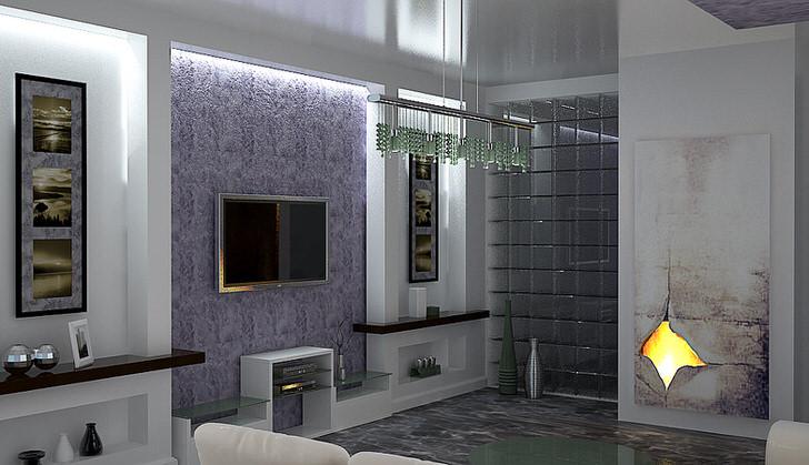 Дизайн в гостиной в стиле хай тек