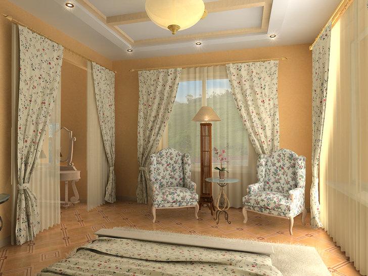 Спальня в английском стиле с необычной изюминкой. Для обивки мебели, занавесок и покрывала была выбрана одна ткань с непритязательным цветочным узором.