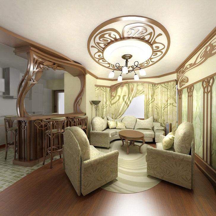 Изысканная мебель для небольшой гостиной в стиле модерн в городской квартире в Москве.