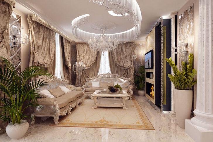 Напыщенная, вычурная гостиная в ампир стиле.