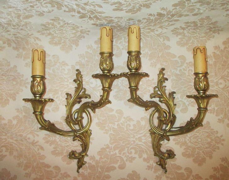 Настенные канделябры для гостиной в стиле арт-деко.