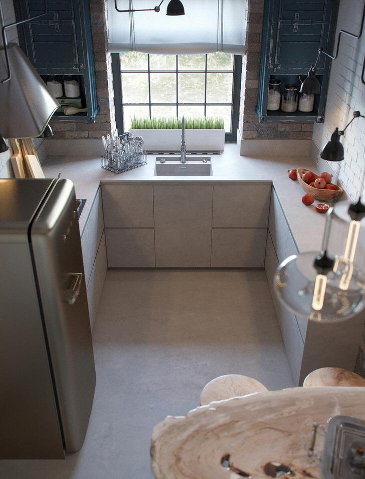 Небольшая кухня в лофт стиле в традиционной городской квартире.Интересным дизайнерским решением стали керамические белые горшки с зеленью.