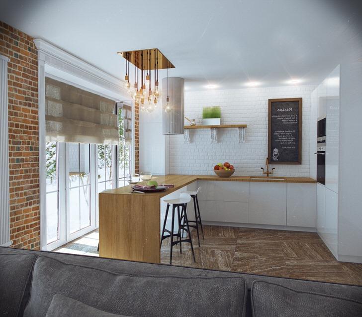 Кухня в стиле лофт в доме известного художника.
