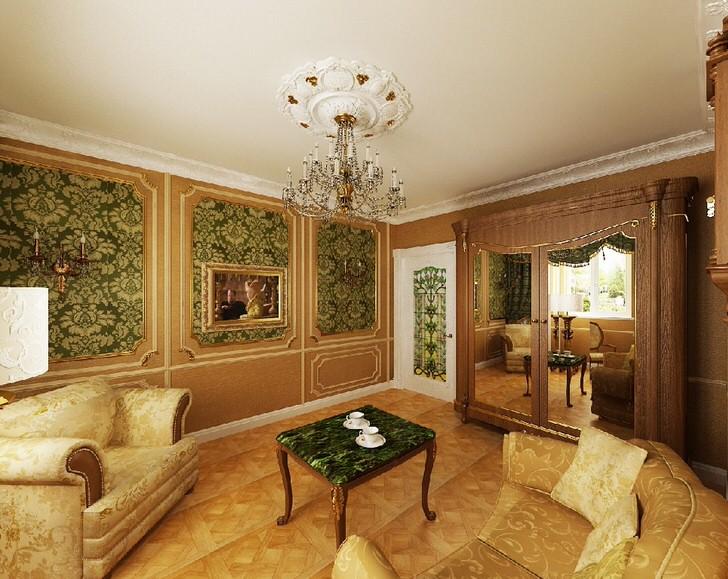 Благородный зеленый цвет в сочетании с желтым золотом выгодно смотрится в гостевой комнате в ампер стиле.