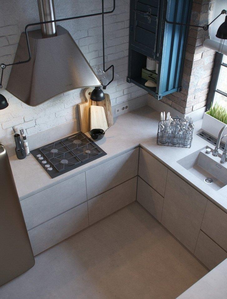В соответствии с требованиями стиля лофт в качестве стеновой отделки использован кирпич белого цвета.