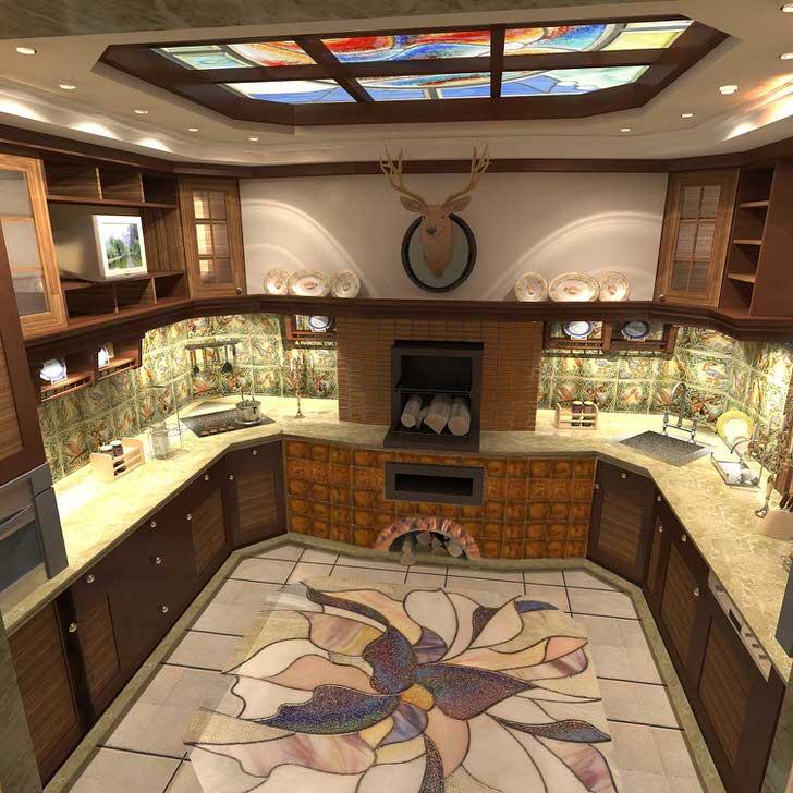 Изразцовый камин становится кульминацией дизайнерского проекта для кухни.