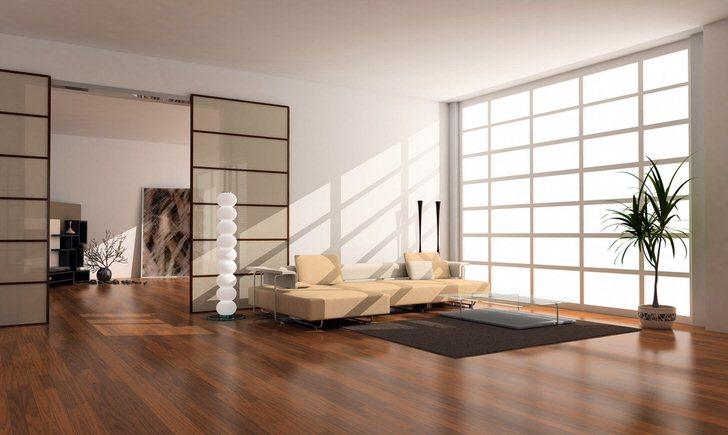 Гостевая комната в стиле модерн в большом загородном доме известного французского бизнесмена. Внимание притягивает панорамное окно на всю стену.