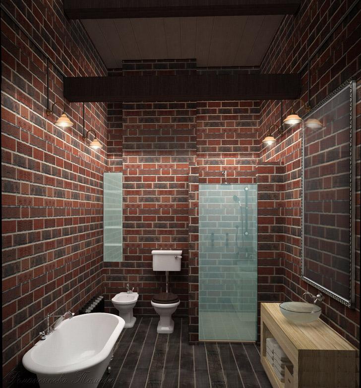 Просторная ванная комната в лофт стиле. Правильно организованное, не загроможденное пространство.