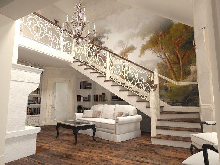 Поразительная гармония изящной лестницы и интерьера дома в средиземноморском стиле.