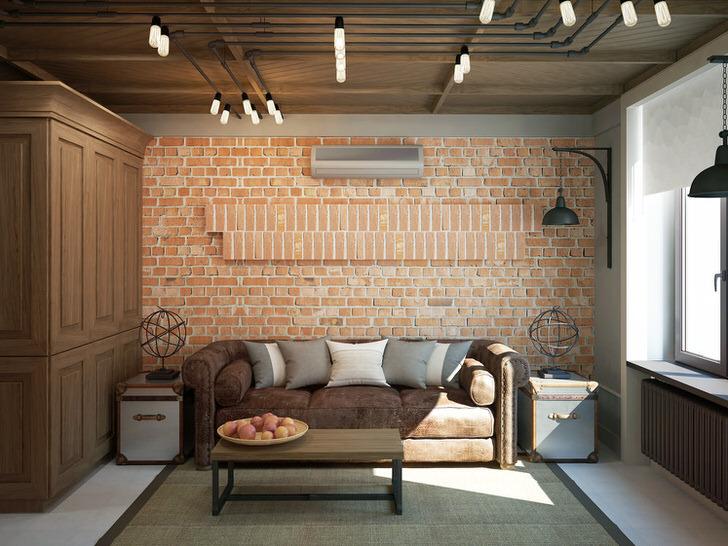 Примечательна стена из кирпичной кладки. Освещение также подобрано в соответствии со стилем лофт.