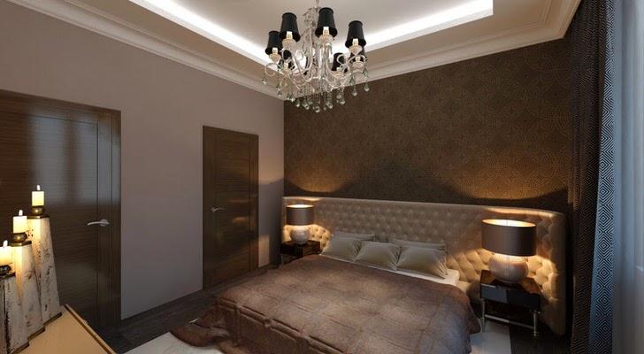 Спальня в стиле арт-деко с правильным освещением. Приглушенный свет создает в комнате атмосферу уединения и романтики.