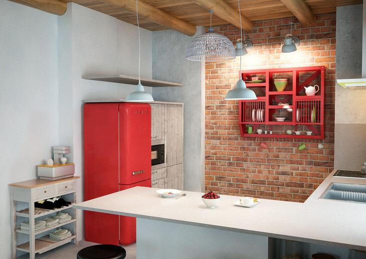 Креативная кухня в лофт стиле для творческого человека. Стильный интерьер для кухни небольшой квадратуры.