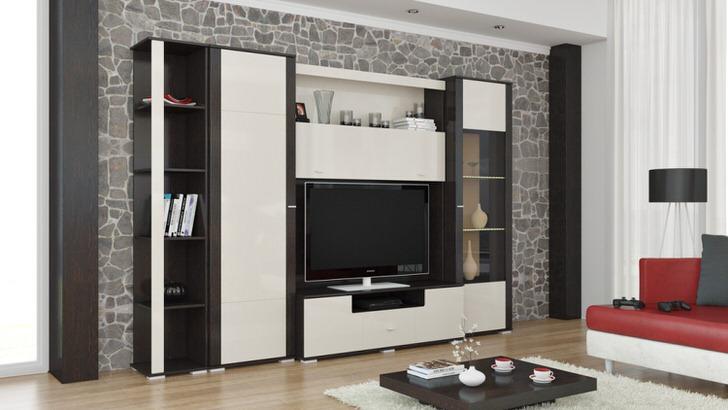 Бело-черная модульная стенка для большой гостиной.