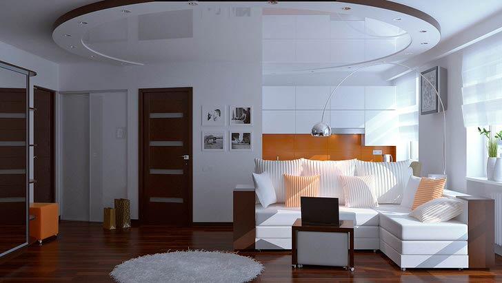 Гостиная в модерн стиле в обычной городской квартире в Москве. Интерьер не загроможден лишними деталями.