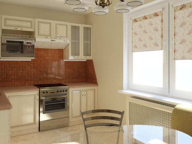 Классическое сочетание цвета слоновой кости и темно-бежевого цвета выгодно смотрится на кухне, площадь которой составляет 12 квадратов. Использование светлых тонов в оформлении делает кухню визуально более просторной.