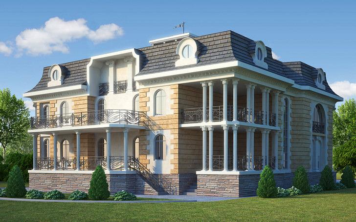Фасадная лепнина имитирует кирпичную кладку. Светло-коричневые тона выгодно смотрятся в оформлении архитектуры здания.