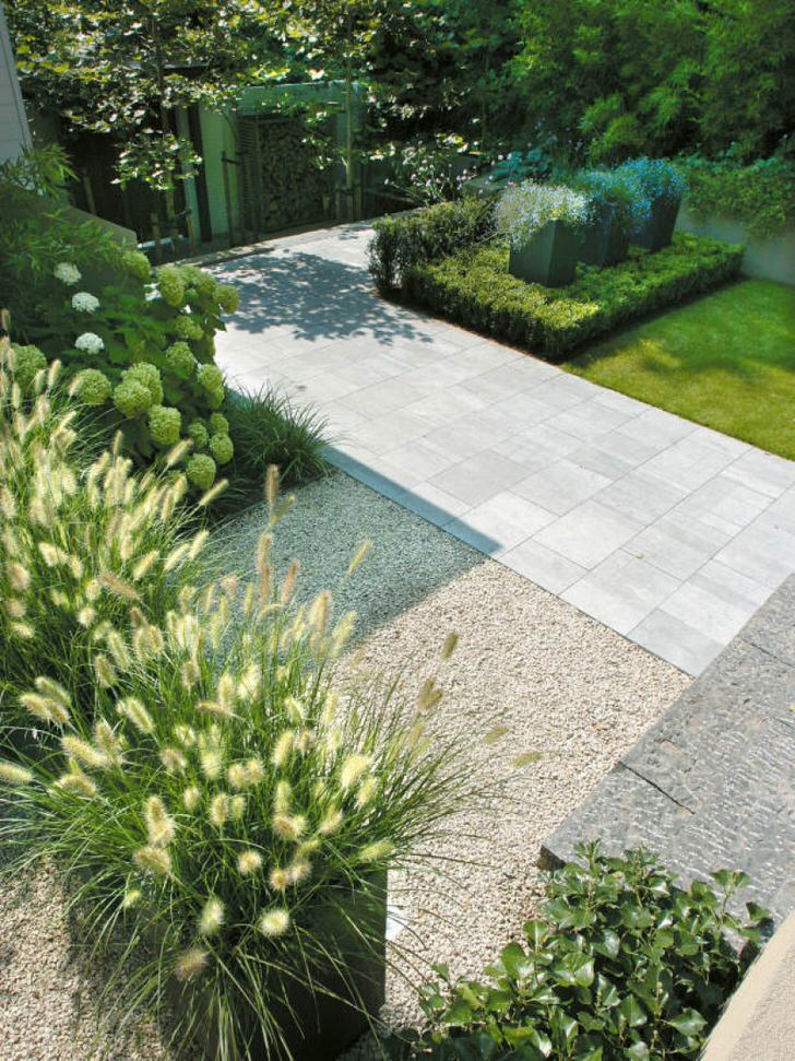 Стильные, сдержанные композиции для сада в стиле модерн. Участки коротко стриженного газона гармонично сочетаются с дорожками из плитки.