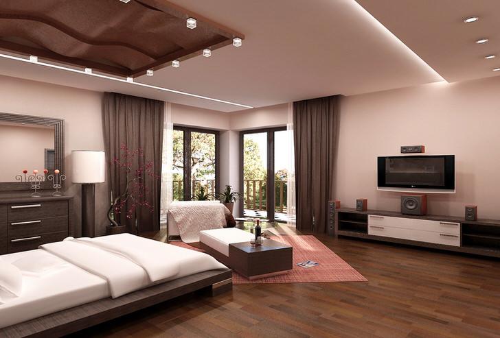 Просторная спальня в стиле хай-тек в бежевых тонах в доме молодой семьи в Риме.