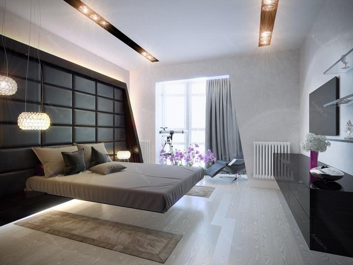 Просторная спальня в стиле хай тек. Классические цвета в оформлении помещения: много светлого, серый и чёрный. Освещение точечное, многофункциональное.