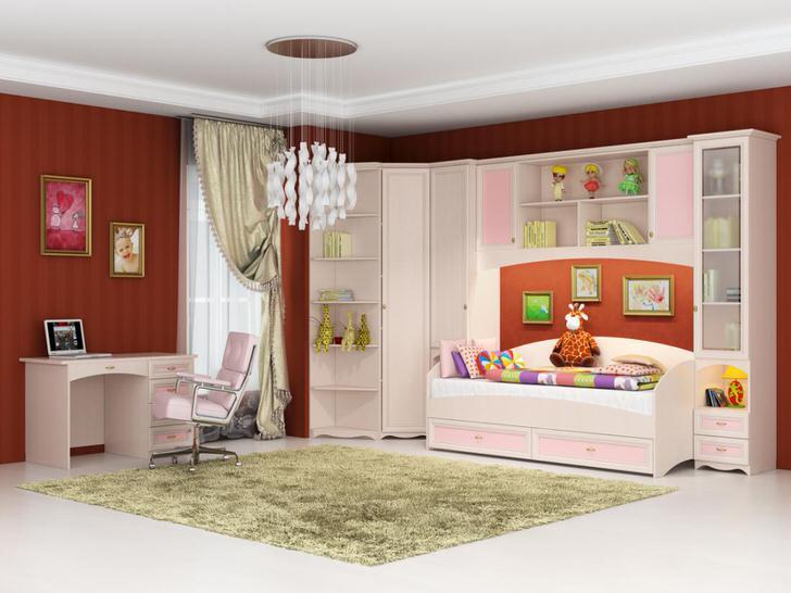Стильная комната для юной модницы. Модульная мебель для детской выполнена в розовом и белом цвете - то, что нужно для девочки.