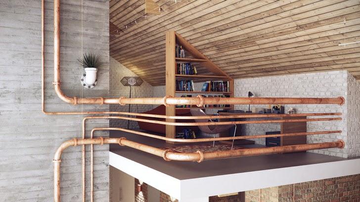 Уютный кабинет на втором этаже огорожен металлическими трубами, что соответствует стилю лофт.