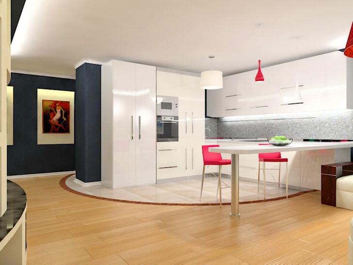 Просторная кухня в стиле минимализм с лаконичным кухонным гарнитуром. Простота, практичность и функциональность сплетаются в единую концепцию стиля.
