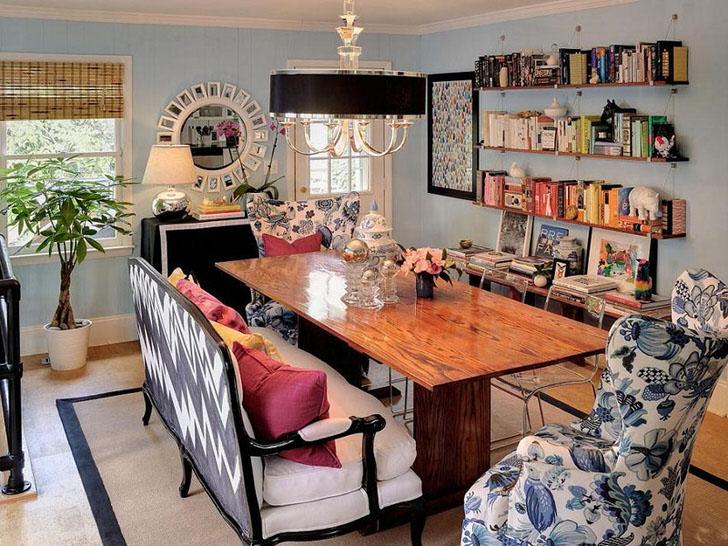 Стиль кантри перемешан со стилем арт-деко. Стильное решение для обеденной комнаты в стиле эклектика.