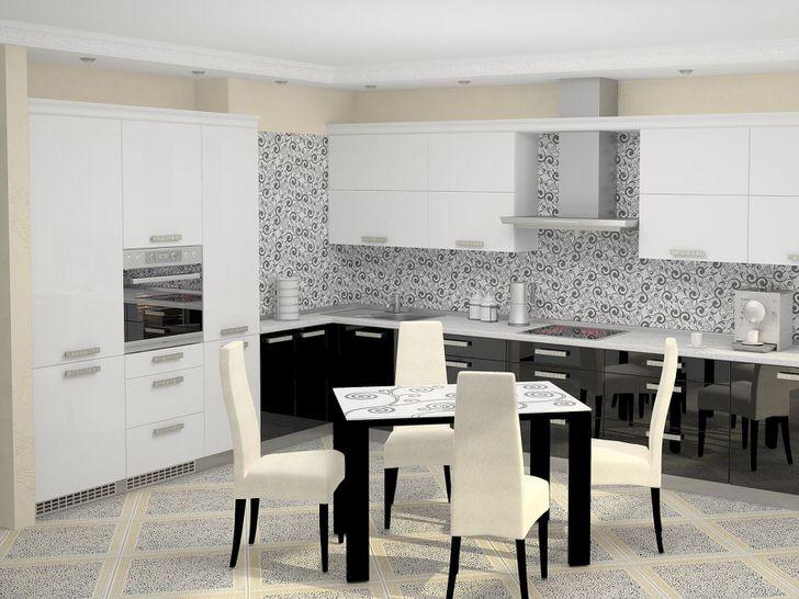 Бело-черный кухонный гарнитур в хай-тек стиле со встраиваемой техникой органично смотрится в общей концепции дизайнерской задумки.