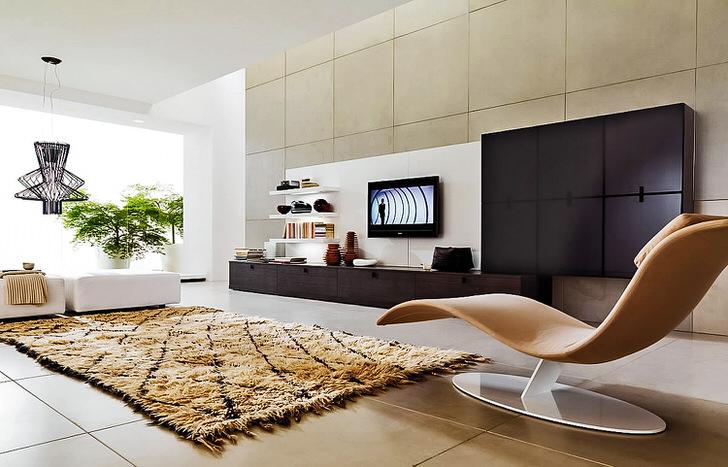 Естественный выбор для гостиной: модульная корпусная стенка и диваны. Особая фишка интерьера-эргономичное кресло-лежанка.