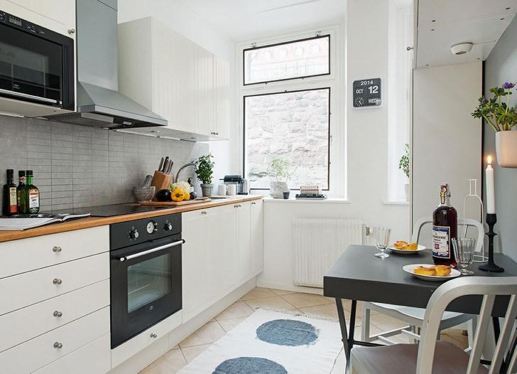 Кухня в скандинавском стиле - отличное место для теплых семейных посиделок. Пространство оформлено скромно, лаконично, но со вкусом.