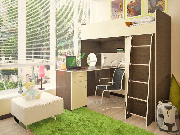 Отличное решение для небольшой детской комнаты. Кровать на втором этаже - мечта практически каждого ребенка.