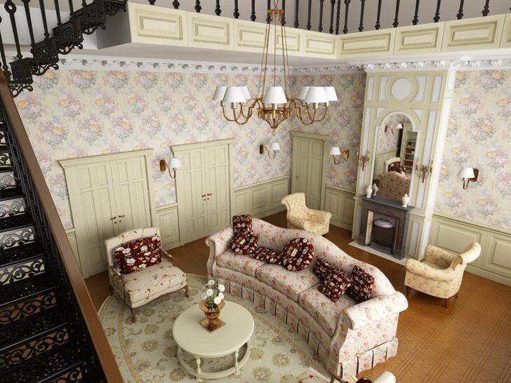 Гостиная в кантри стиле на первом этаже большого дома в Подмосковье. В соответствии со стилем подобрана мягкая мебель из ткани с цветочным рисунком.