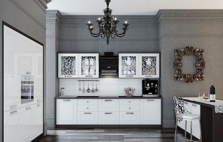 Кухня выполнена в выгодном сочетании контрастного белого и черного цвета. Глянцевые поверхности изящно вписываются в интерьер в стиле неоклассика.