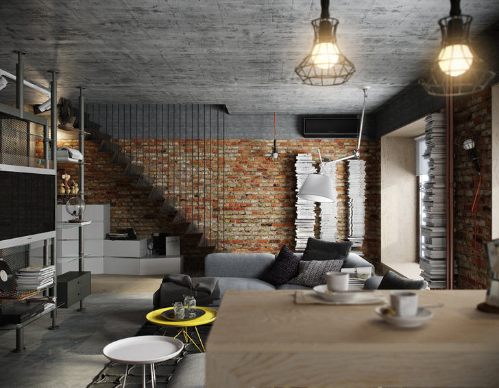 Черновая отделка потолка, стены из кирпичной кладки, мебель из металлических труб - каждый элемент интерьера подобран в соответствии со стилем лофт.